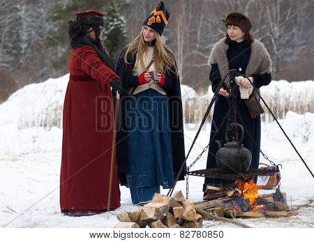 Three Women Near The Fire