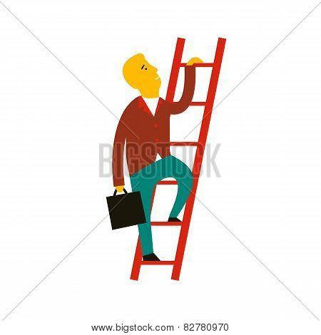 Vector Illustration Concept Of Cartoon Man Climbing The Staircas