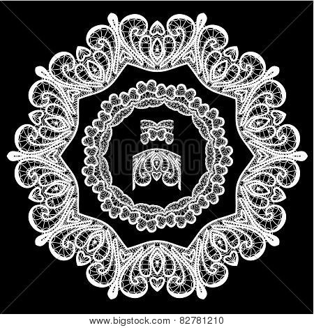 Round Frame - Floral Lace Ornament - White On Black Background.