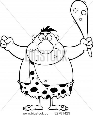 Black And White Angry Caveman Cartoon Character Holding A Club