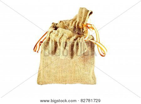 Burlap Sack Bag On White Background