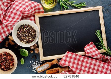 Black Chalk Board And Spices.