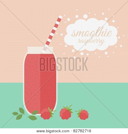 Raspberry Smoothie In Jar On A Table