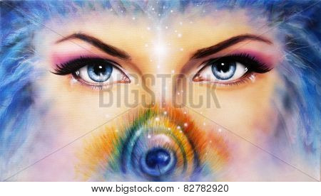 Eyes Looking Up Mysteriously From Behind A Small Rainbow Colored Peacock Feather make up art,eye