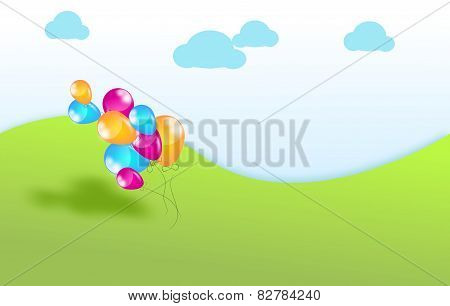 Happy Landscape With Balloons