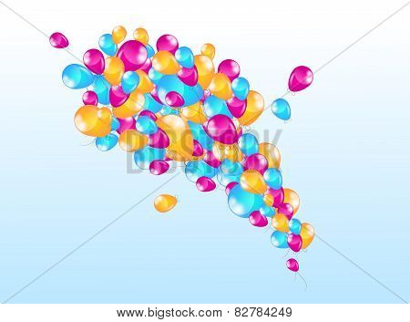 Blue Background Wiht Inflatable Balloons