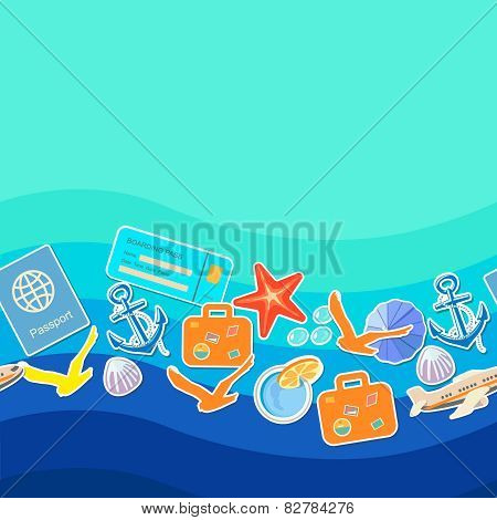 Tourism concept seamless pattern, summer holiday background and place for text
