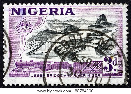 Postage Stamp Nigeria 1953 Jebba Bridge Over Niger River