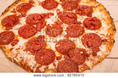 Hot Pepperoni Pizza Close