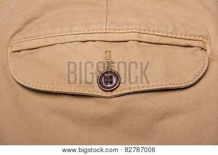 Close Up Of Brown Pants Back Pocket