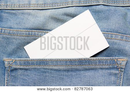 Visiting Card In Back Pocket Of Blue Jeans