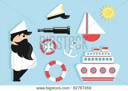 sailing cartoon icons set