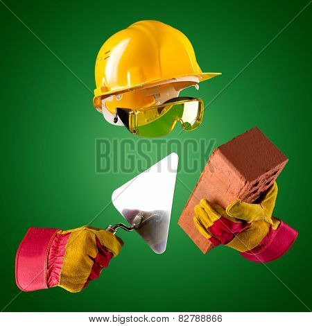 Invisible Builder -- Trowel And Brick