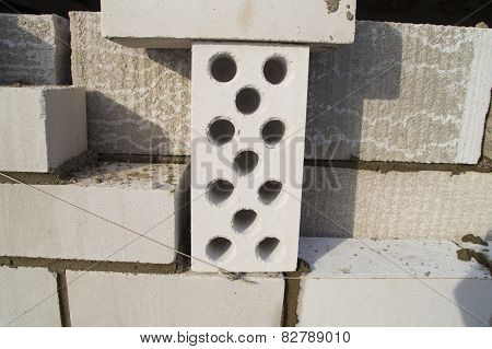 Building material. Silicate white porous brick
