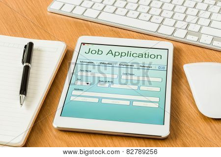Digital Tablet Pc Showing Job Application Form