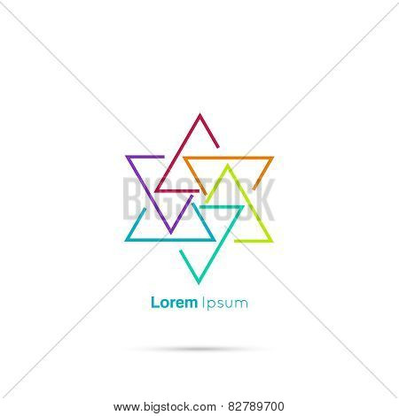 Triangle social beauty vector logo