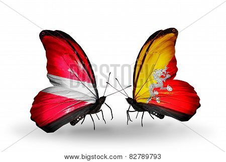 Two Butterflies With Flags On Wings As Symbol Of Relations Latvia And Bhutan