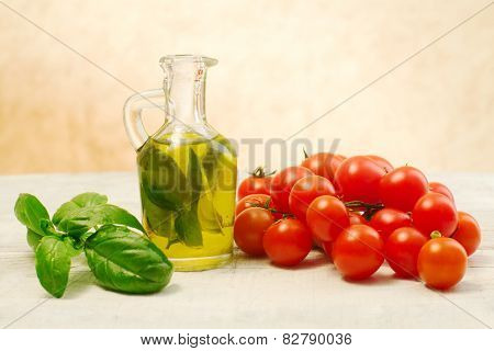 Oil, Basil And Tomato