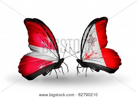Two Butterflies With Flags On Wings As Symbol Of Relations Latvia And Malta