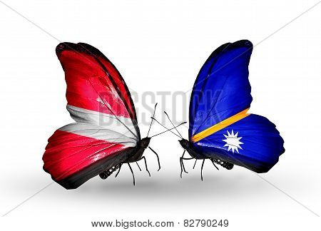Two Butterflies With Flags On Wings As Symbol Of Relations Latvia And Nauru