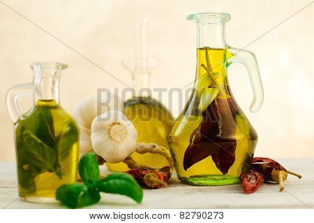 Oil Flavored With Herbs Abd Spices