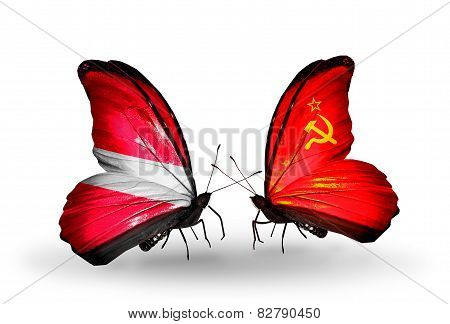Two Butterflies With Flags On Wings As Symbol Of Relations Latvia And Soviet Union