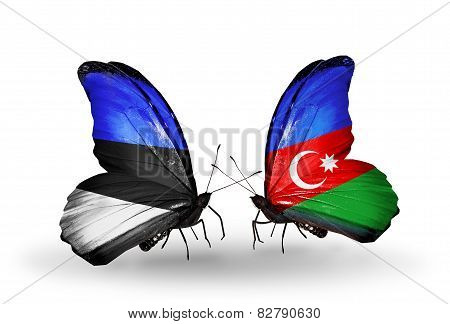 Two Butterflies With Flags On Wings As Symbol Of Relations Estonia And Azerbaijan