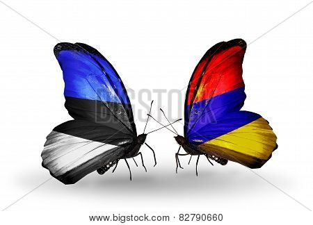 Two Butterflies With Flags On Wings As Symbol Of Relations Estonia And Armenia