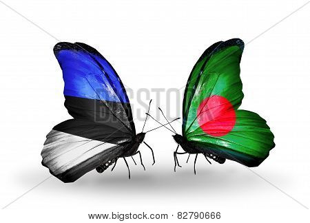 Two Butterflies With Flags On Wings As Symbol Of Relations Estonia And Bangladesh