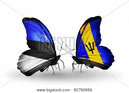 Two Butterflies With Flags On Wings As Symbol Of Relations Estonia And Barbados