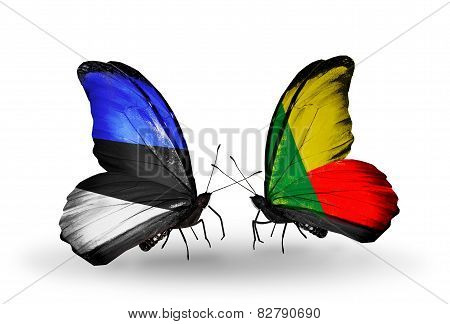 Two Butterflies With Flags On Wings As Symbol Of Relations Estonia And Benin