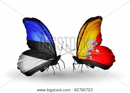 Two Butterflies With Flags On Wings As Symbol Of Relations Estonia And Bhutan