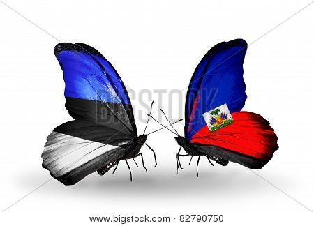 Two Butterflies With Flags On Wings As Symbol Of Relations Estonia And Haiti