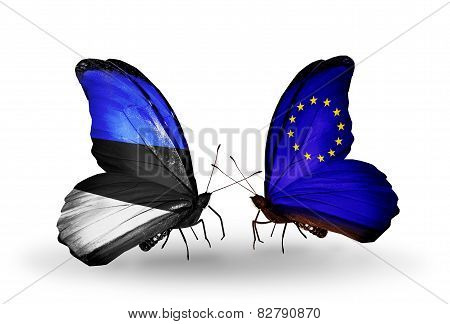 Two Butterflies With Flags On Wings As Symbol Of Relations Estonia And European Union