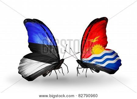 Two Butterflies With Flags On Wings As Symbol Of Relations Estonia And Kiribati
