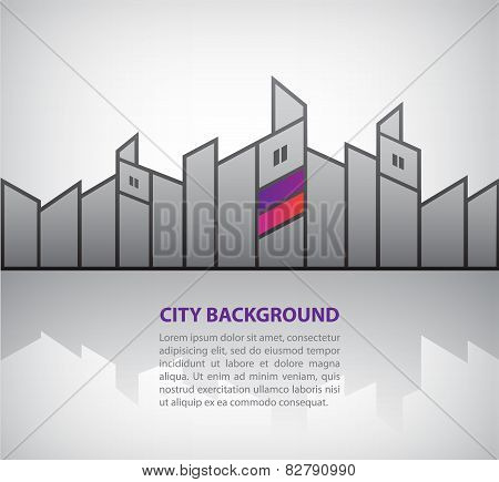 vector abstract silhouette city background with reflection