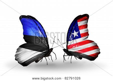Two Butterflies With Flags On Wings As Symbol Of Relations Estonia And Liberia