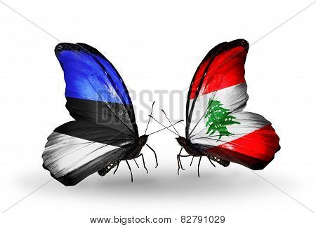 Two Butterflies With Flags On Wings As Symbol Of Relations Estonia And Lebanon