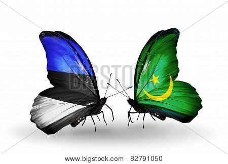 Two Butterflies With Flags On Wings As Symbol Of Relations Estonia And Mauritania