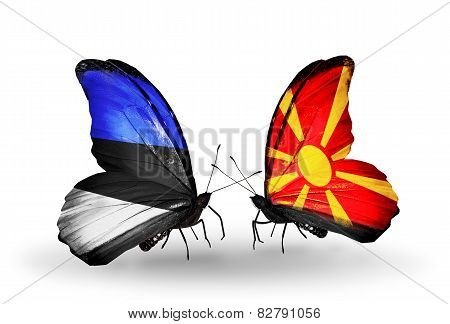 Two Butterflies With Flags On Wings As Symbol Of Relations Estonia And Macedonia