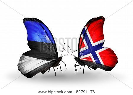 Two Butterflies With Flags On Wings As Symbol Of Relations Estonia And Norway