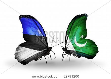 Two Butterflies With Flags On Wings As Symbol Of Relations Estonia And Pakistan