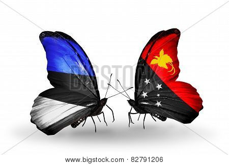 Two Butterflies With Flags On Wings As Symbol Of Relations Estonia And Papua New Guinea