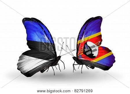 Two Butterflies With Flags On Wings As Symbol Of Relations Estonia And Swaziland