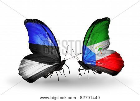 Two Butterflies With Flags On Wings As Symbol Of Relations Estonia And Equatorial Guinea