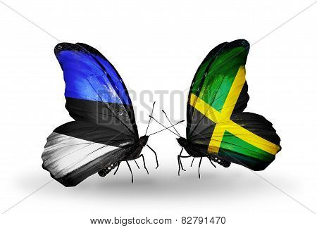 Two Butterflies With Flags On Wings As Symbol Of Relations Estonia And Jamaica