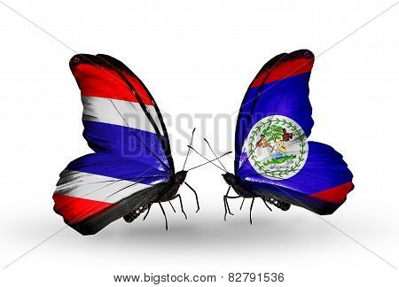 Two Butterflies With Flags On Wings As Symbol Of Relations Thailand And Belize
