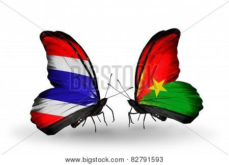 Two Butterflies With Flags On Wings As Symbol Of Relations Thailand And Burkina Faso
