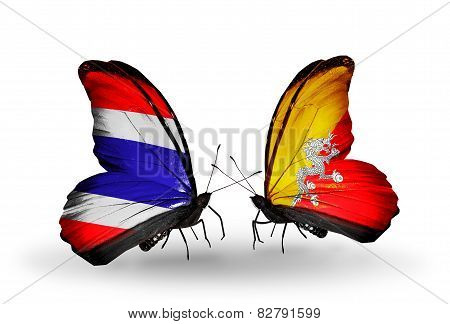 Two Butterflies With Flags On Wings As Symbol Of Relations Thailand And Bhutan