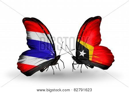 Two Butterflies With Flags On Wings As Symbol Of Relations Thailand And East Timor
